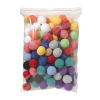 Jasart Pom Poms 38mm Assorted Colours Pack of 100