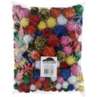 Jasart Assorted Sizes Pom Poms Christmas Glitter Pack of 150