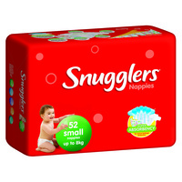 Snugglers Nappies Small Upto 8KG 4 x 52's (208)