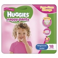 Huggies Nappy-Pants Junior Girl (16+KG) 4 x 18's
