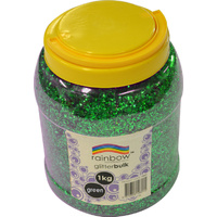 Rainbow Glitter Bulk 1kg Jar Green