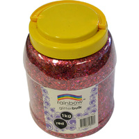 Rainbow Glitter Bulk 1kg Jar Red