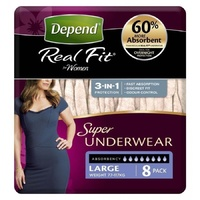 Depend Real Fit Super Underwear for Women Large 8's