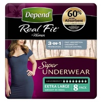 Depend Real Fit Underwear for Women Extra Large 8's