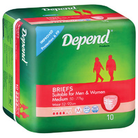 Depend Briefs Unisex Medium 50 - 77KG 10's