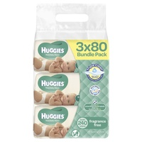 Huggies Wipes Unscented Refill Carton 3 x 240's