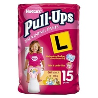 Huggies Pull-Ups Girls Size 3 (14 - 18KG) 15's