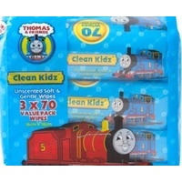 Thomas & Friends Clean Kidz Unscented Wipes 3 x 70's