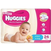 Huggies Infant Girl 4 - 8 KG 4 x 24's (96)