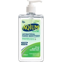 Aqium Antibacterial Hand Sanitiser with Aloe 375ml