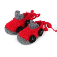 Baby Crochet Booties Red & Grey