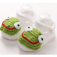 Baby Crochet Booties White & Green