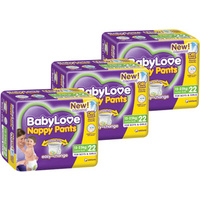 Baby Love Nappy Pants Junior 15 - 25KG 3 x 22's (66)