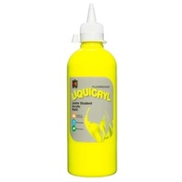 Fluorescent Liquicryl Junior Student Paint Yellow 500mL
