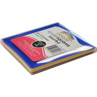 Rainbow Fluro Paper Squares 125mm 100 Sheets