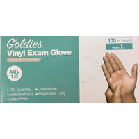 Goldies Clear Vinyl Powder Free Gloves Large 100's