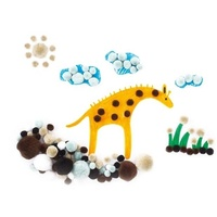 Pom Poms Animals Assorted Colours & Sizes 300 Piece