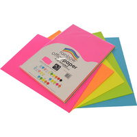 Rainbow Office Paper A3 75GSM 100 Sheets Fluro Assorted Colours