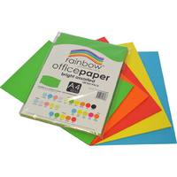 Rainbow Office Paper A4 80GSM 100 Sheets Bright Assorted Colours