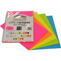 Rainbow Office Paper A4 75GSM 100 Sheets Fluro Assorted Colours