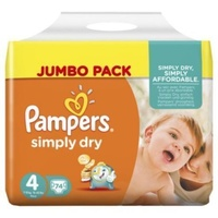 Pampers Simply Dry 7 - 18KG 74's Size 4