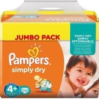 Pampers Simply Dry 9 - 20KG 70's Size 4+