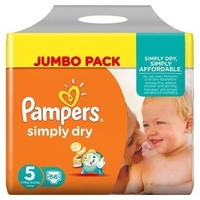 Pampers Simply Dry 11 - 25KG 66's Size 5