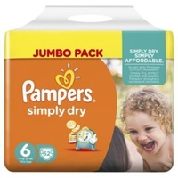 Pampers Simply Dry 16+KG 62's Size 6