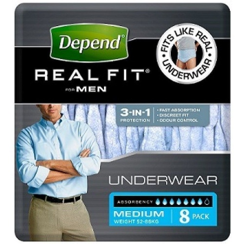 Depend Real Fit Underwear for Men Medium 8's