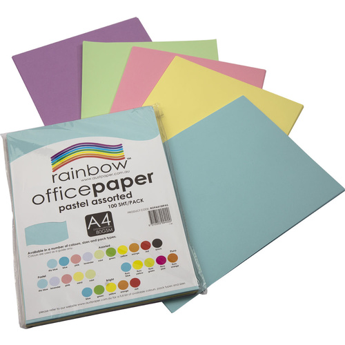 Rainbow Office Paper A4 80GSM 100 Sheets Pastel Assorted Colours