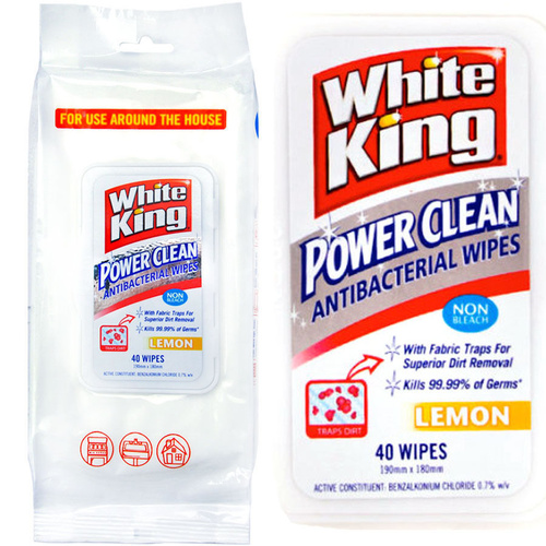 White King Power Clean Antibacterial Wipes 40's