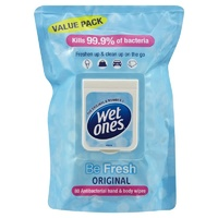 Wet Ones Be Fresh Original Antibacterial Wipes 80's