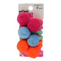 Scunci Hair Pom Poms Pack of 6