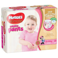 Huggies Ultimate Nappy Pants Toddler Girl (10 - 15KG) 4 x 31's
