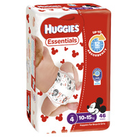 Huggies Essentials Toddler 10 - 15kg 46's Size 4