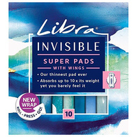 Libra Super Pads Invisible With Wings 10's