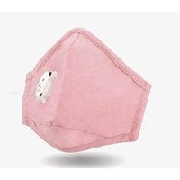 3Ply Kids Protective Cotton Face Mask Pink With Valve & Ear Toggle