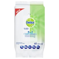 Dettol 2 in 1 Hand & Surface Anti-Bacterial Wipes Fresh Scent Pack of 60