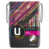 U by Kotex Ultrathin with Designs Super Pads with Wings Pack of 10