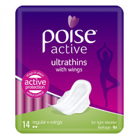 Poise Pads Active Ultrathins Regular with Wings 14's