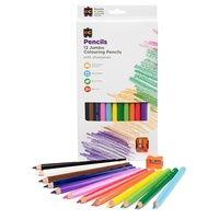 Jumbo Washable Colouring Pencil 12 pack with 12 Sharpener