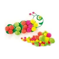 Pom Poms Neon Assorted Colours & Sizes 50 Piece
