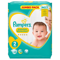 Pampers Premium Protection 4 - 8KG 68's Size 2