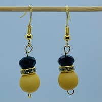 RaYisa Jewels Matte Mustard & Black Dangle Earring