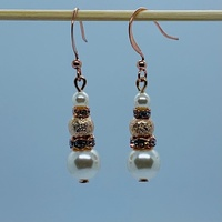 RaYisa Jewels Cream & Light Rose Gold Dangle Earring