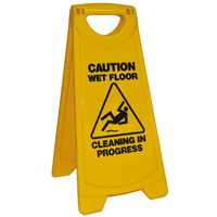 A Frame Cleaning Sign Wet Floor - Yellow