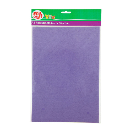 Educraft A4 Felt Sheets Peel'n'Stick 2 Pack