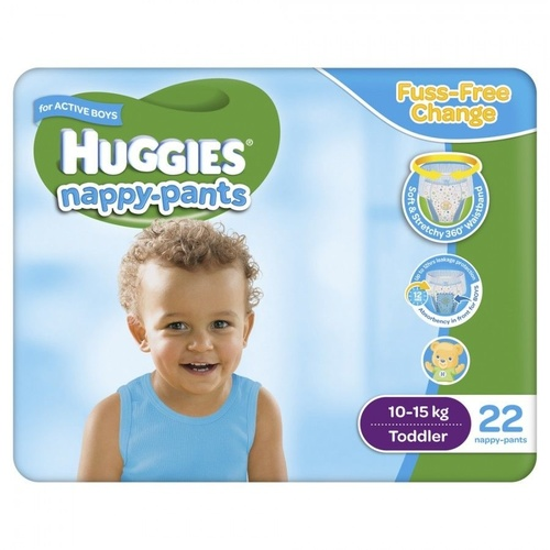 Huggies Nappy Pants Toddler Boy (10 - 15KG) 4 x 22's