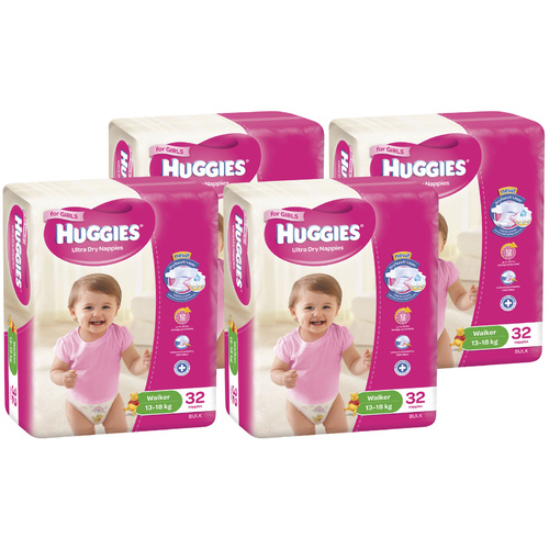 Huggies Ultra Dry Nappies Walker Girl 13 - 18 Kg 4 x 32's (128)