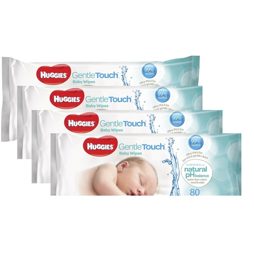 Huggies Gentle Touch Baby Wipes 4x80's